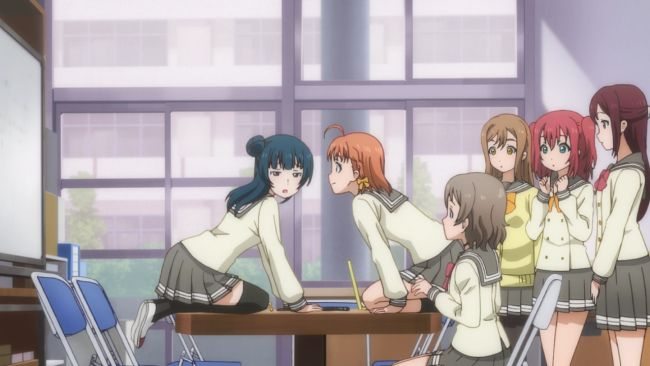 Love Live Sunshine - Chika's favorite way to discuss things at a table