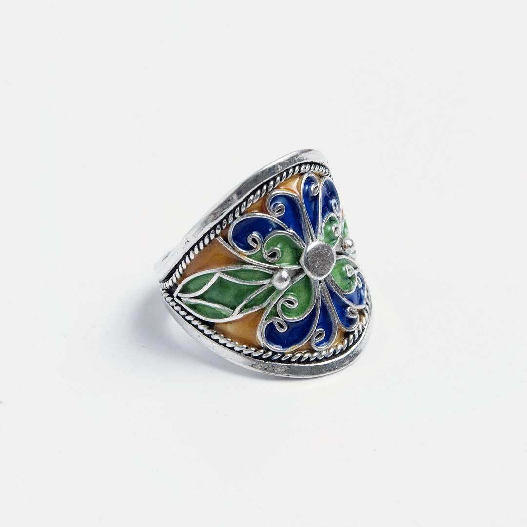 Inel Unicat Fezzou Argint I Email Maroc Metaphora