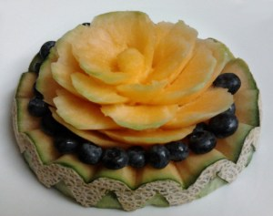 Cantaloupe with blueberries by Jessica Stroia.
