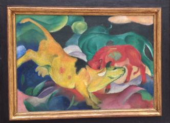 Cows fed, green, yellow by Franz Marc