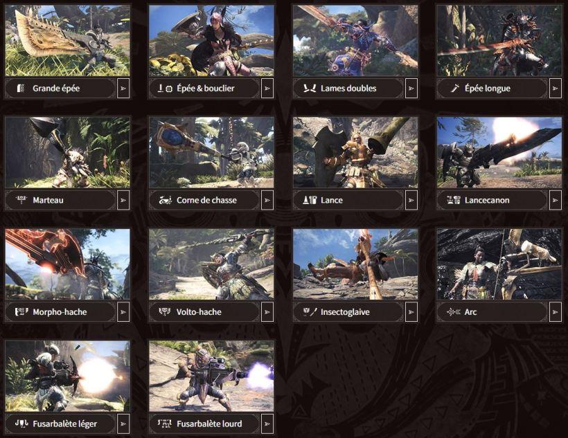 armes Monster Hunter World