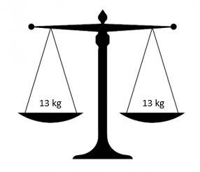 set of scales with 13 kilograms on both sides