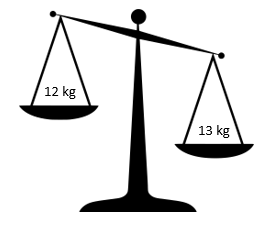 set of scales with 12 kilograms on left and 13 kilograms on right