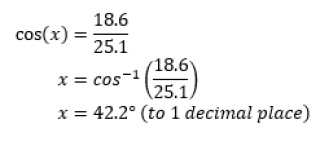 using inverse cos to find x