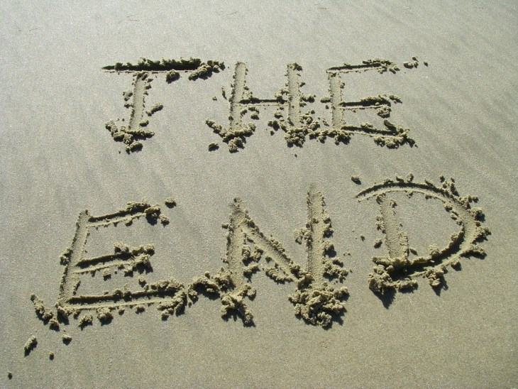 the words the end written in the sand