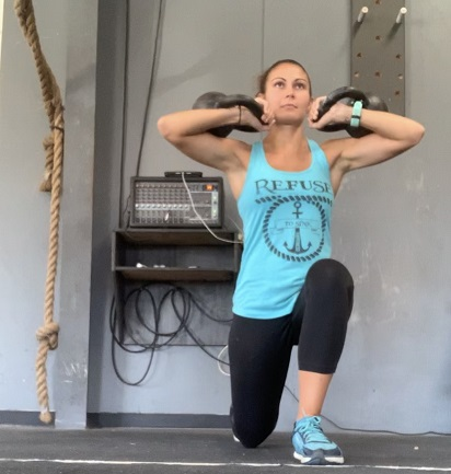 front rack lunges, kettlebell lunges