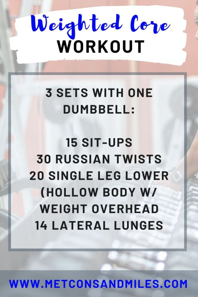 sick of speedwork - weighted core workout