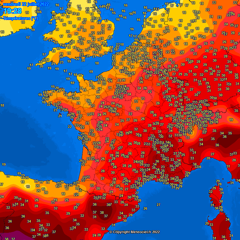 Aktuelle Temperaturen in Westeuropa
