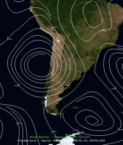 Anomalía de viento en 200 hPa. (Fuente: NCEP-NCAR)