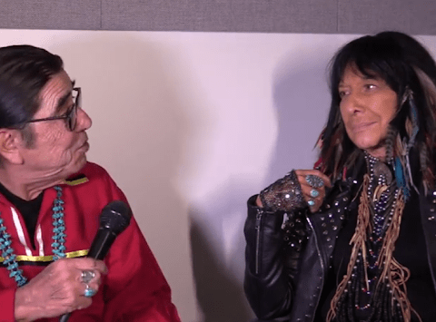 Tony Gonzales, director of AIM West, interviews Buffy Sainte Marie in San Francisco for his television program 'Eagle and Condor,' on Bay Area Video Coalition, San Francisco Commons29.sfc.tvaired on Sundays each week 4 to 5 pm. Buffy performed during November as the 50th Anniversary of the Occupation of Alcatraz was underway. Screenshot by Censored News.