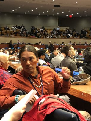 Angelo Baca at the United Nations. Photo courtesy Utah Diné Bikéyah