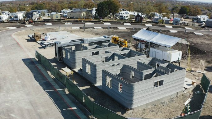 Icon's Vulcan II 3D printer for homes on a job site in Austin, Texas where it was 3D printing a series of six homes for formerly homeless individuals. (Courtesy of Icon)