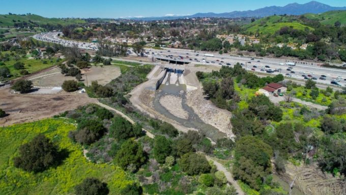 A flood control channel that passes under Interstate 5 in San Juan Capistrano, Calif. blocks fish migration. Photo: Mike Wier / CalTrout.