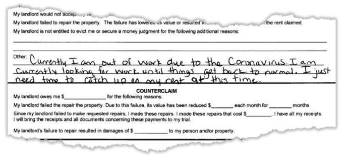 An excerpt from a tenant's response to an eviction lawsuit in Union City, Georgia. (Obtained by ProPublica)