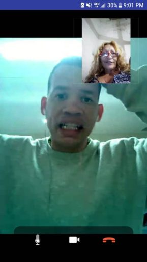 Pedro Iglesias Tamayo speaks with his mother over the GettingOut video visitation app. His mother is in Cuba. (CREDIT: GettingOut screenshot courtesy of Iglesias family)