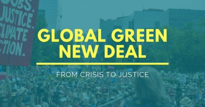 "The coronavirus crisis has brought ""the machine of capitalism... to a halt,"" said Arundhati Roy. (Image: Global Green New Deal)"