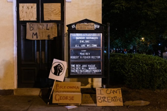 St. John's Episcopal Church near Lafayette Square in Washington on Tuesday after peaceful protesters were tear gassed so that President Donald Trump could be photographed in front of the church. (Eric Lee)