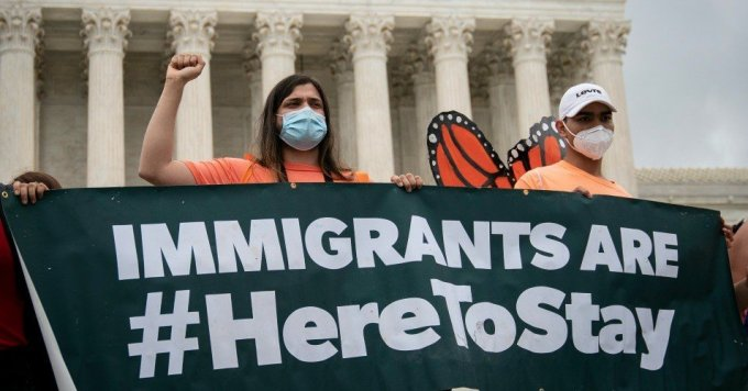 DACA recipients and their supporters rally outside the U.S. Supreme Court on June 18, 2020 in Washington, DC. On Thursday morning, the Supreme Court, in a 5-4 decision, denied the Trump administration's attempt to end DACA, the Deferred Action for Childhood Arrivals program. (Photo: Drew Angerer)