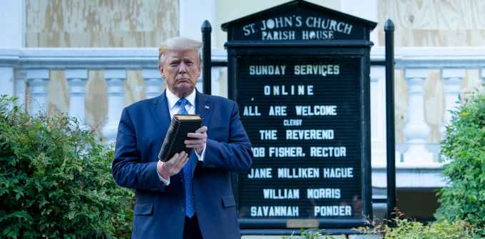 Trump posing at St Johns Episcopal Church, Washington, DC.