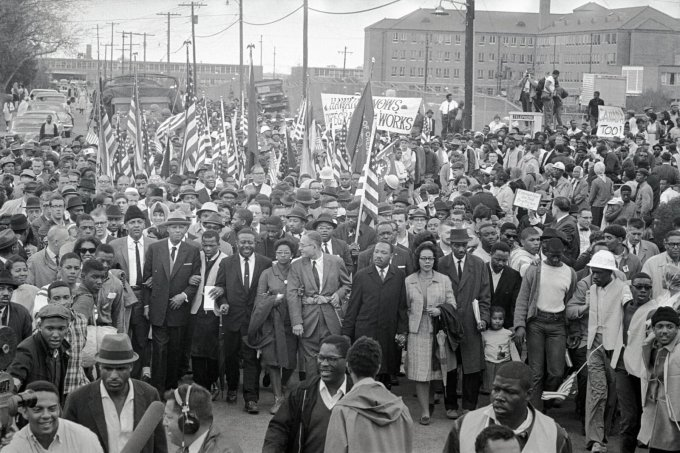 The CRS negotiated with protest leaders and local officials behind the scenes during a march led by Martin Luther King Jr. from Selma to Montgomery, Alabama. (Stephen F. Somerstein/Getty Images)
