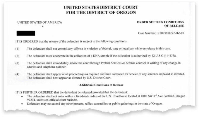 """A court order prohibits a Portland protester from attending """"any other protests, rallies, assemblies or public gatherings in the state of Oregon."""" The defendant's name was redacted by ProPublica. (Obtained by ProPublica)"""