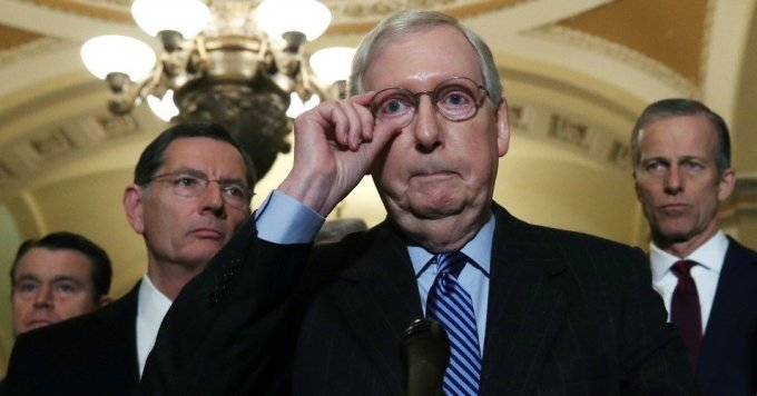 Senate Majority Leader Mitch McConnell (R-Ky.) talks to reporters after attending the weekly Senate Republicans policy luncheon at the U.S. Capitol January 7, 2020 in Washington, D.C. (Photo: Mark Wilson/Getty Images)