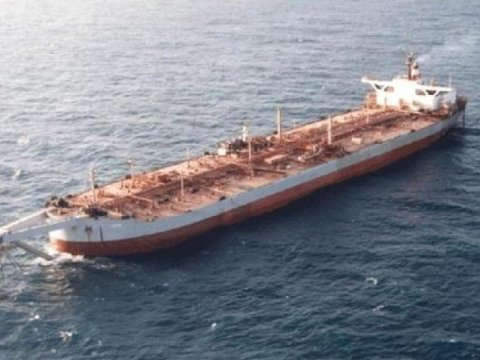 A file photo shows the FSO Safer supertanker permanently anchored off Yemen's Red Sea coast, west of Hodeida. (Handout)