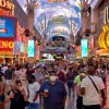 A crowd at the Fremont Street Experience, a Las Vegas pedestrian mall frequented by tourists, on July 10. (Bridget Bennett/The New York Times via Redux)