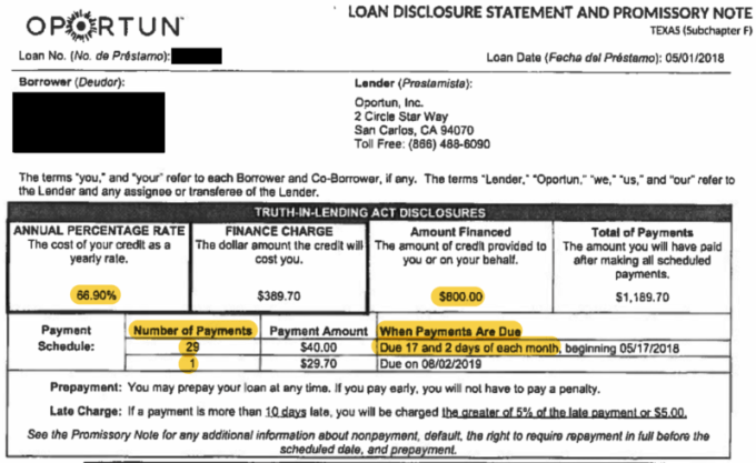 Oportun loan contract. (Highlights added by ProPublica)