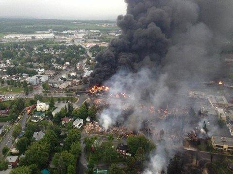The crude-by-rail explosion in Lac-Mégantic, Canada, killed 47 people in 2013. (PHOTO COURTESY OF SÛRETÉ DU QUÉBEC)