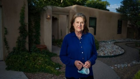 Kathy Kunkel, secretary of the New Mexico Department of Health, outside her home in New Mexico. Credit: Ted Alcorn for Reveal