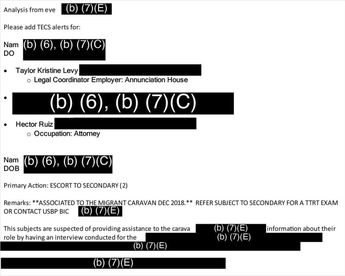 """An email shows agents being instructed to flag lawyers Taylor Levy and Héctor Ruiz coming through U.S. ports of entry, noting """"subjects are suspected of providing assistance"""" to the caravan. Credit: Obtained by ProPublica via Santa Fe Dreamers Project"""