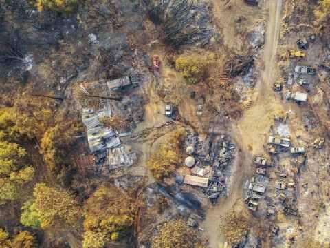 Dry conditions across the West follow a hot, dry year of record-setting wildfires in 2020. Communities were left with scenes like this, from California's Creek Fire. Amir Aghakouchak/University of California Irvine