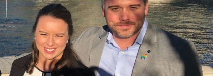 """At the center of the New York Times reporting are Sofia LaRocca and Beau Maier, photographed here in Las Vegas for a 2020 Democratic primary debate. """"They had insinuated themselves into the fabric of progressive movements in the West,"""" the paper reports. (Photo: Screenshot via the Times)"""