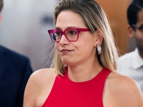 Sen. Kyrsten Sinema (D-Ariz.) arrives for a Senate Homeland Security and Governmental Affairs Committee markup in the Dirksen Building on Wednesday on June 16, 2021. (Photo: Tom Williams/CQ-Roll Call, Inc. via Getty Images)