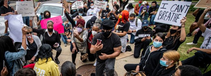 In response to the police killing of George Floyd in Minneapolis, protesters in Freeport, New York march against police brutality, racism, and inequality on June 2, 2020. (Photo: J. Conrad Williams, Jr./Newsday RM via Getty Images)