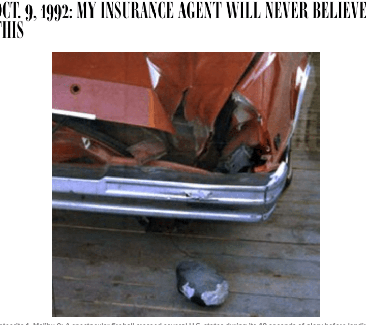 Peekskill Meteorite Car article