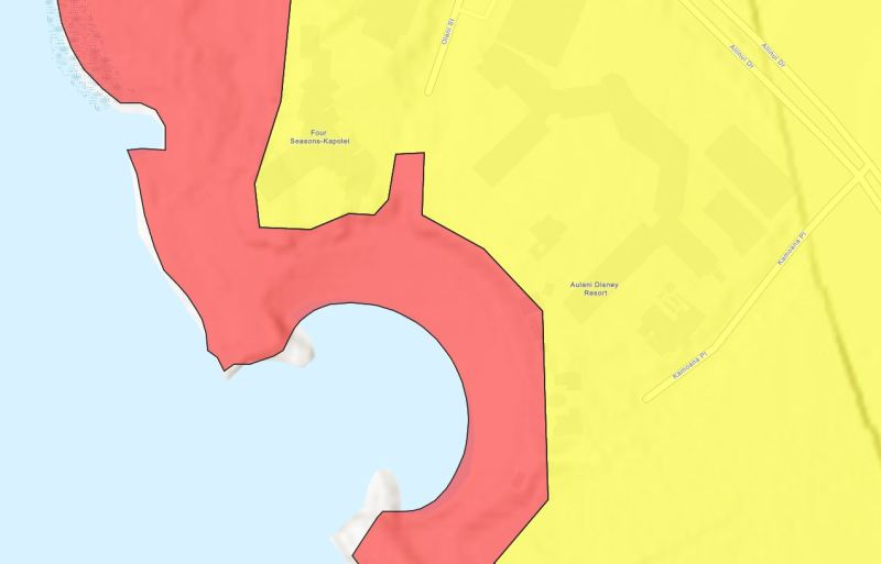 Tsunami Evacuation Zone Map for Aulani