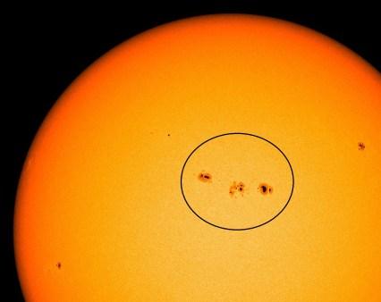 Mancha Solar AR1654. Fuente: NOAA