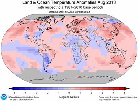 Agosto 2013, el cuarto más cálido desde 1980 en todo el Planeta según informe de la NOAA