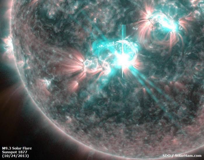 La mancha solar 1877 sorprende hoy con una intensa llamarada de cara hacia La Tierra