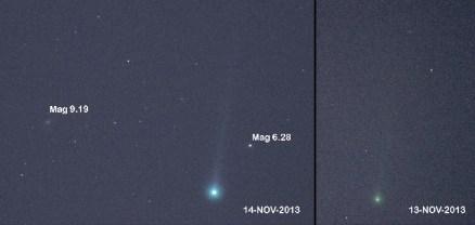 Comparación del cometa en sólo 24 horas. Crédito Charles Coburn, 14 de noviembre de 2013 desde Rescue, CA USA. Click para ampliar