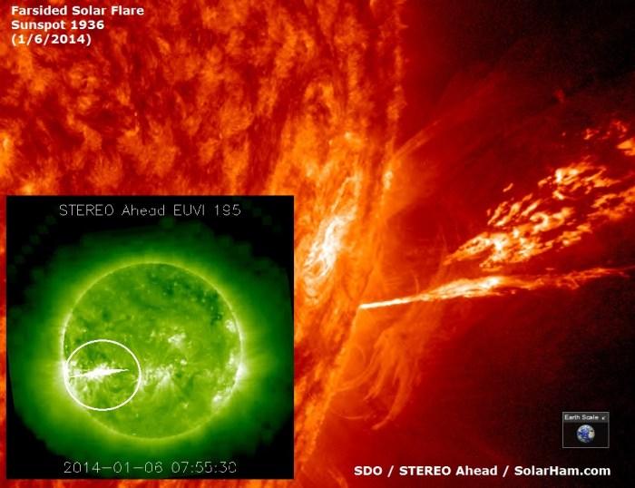 El Sol continúa muy activo iniciando el 2014. Una tormenta de radiación solar está en curso