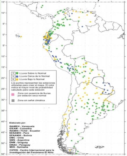 Pronóstico Estacional, Oeste y Sur de Suramérica. Fuente CIIFEN