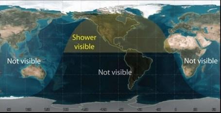 Zonas donde será visible la lluvia de meteoros