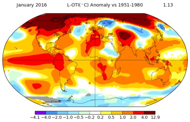 El 2016 no se queda atrás y comienza estableciendo récords de temperaturas con el enero más cálido