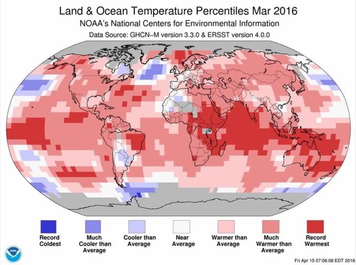 SOCIEDAD Comportamiento termometrico del mes de marzo segun datos de la NOAA de Estados Unidos  El color rojo mas oscuro  derecho  equivale a las zonas donde fue el marzo mas calido desde el inicio de los registros en 1880  Foto  NOAA