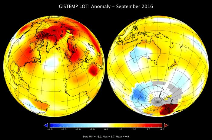 Otro récord! Nos seguimos calentando. Septiembre 2016 el más cálido en 136 años de registros.
