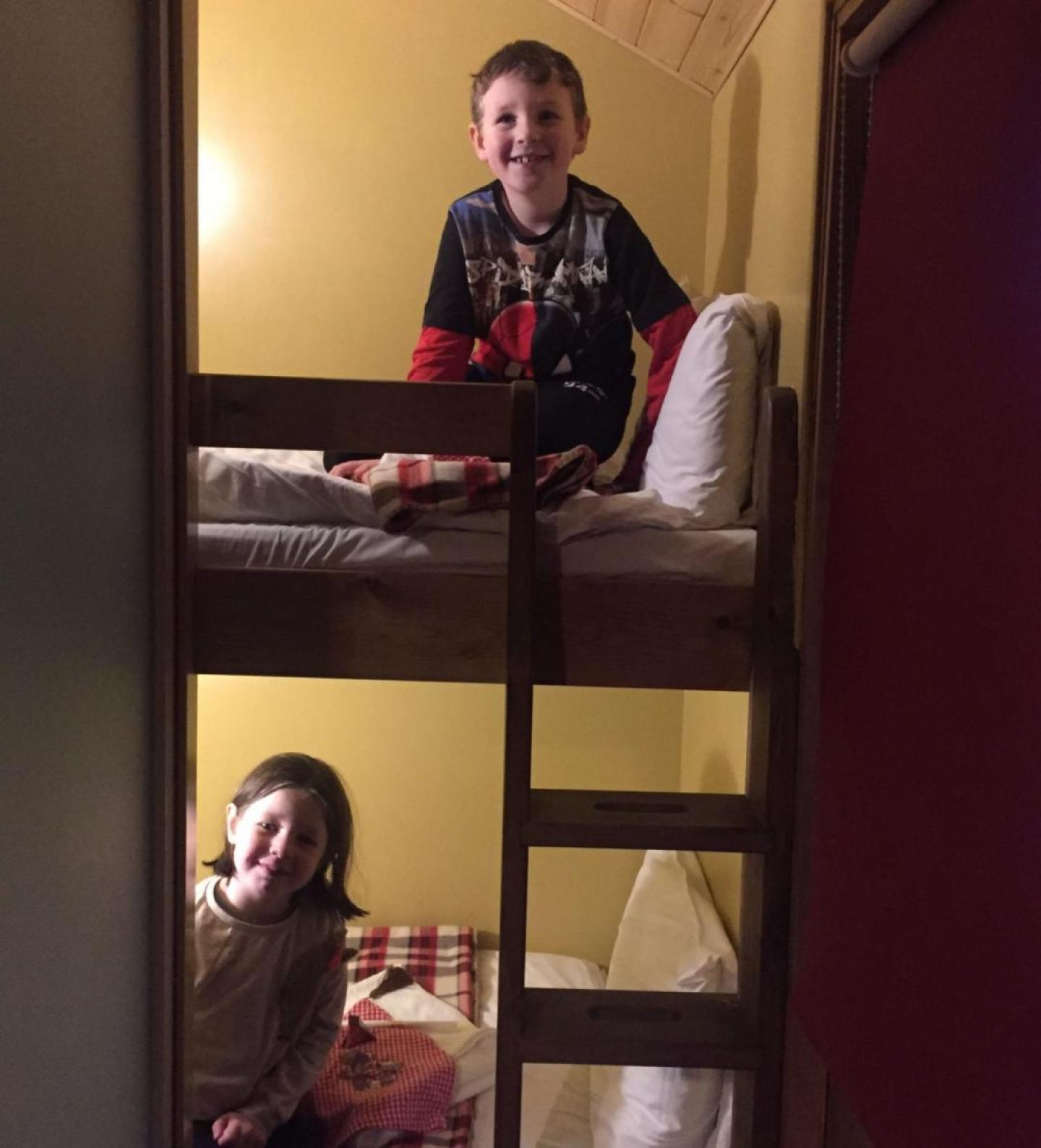 The bunk beds the kids slept in on the santa sleepover