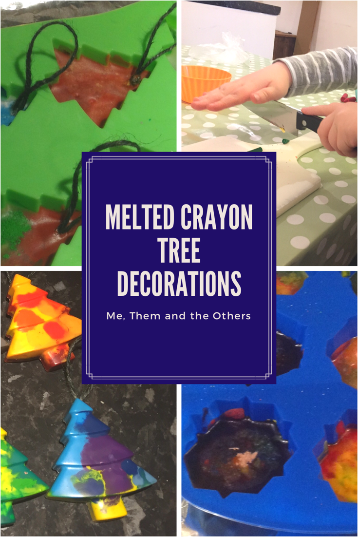 Melted crayon Christmas tree decorations